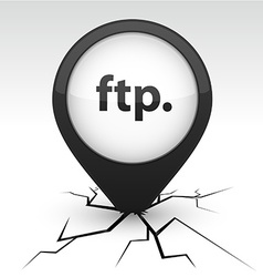 Ftp black icon in crack vector