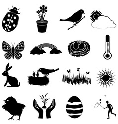 Spring season icons set vector