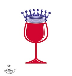 Stylish luxury wineglass with imperial crown vector