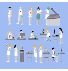 Set of people in medical laboratory vector