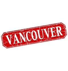 Vancouver red square grunge retro style sign vector
