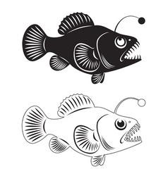 angler fish vector image