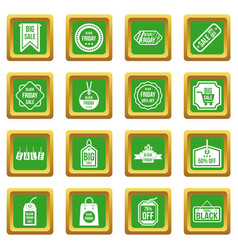 Black friday icons set green vector
