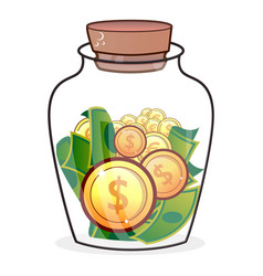 Coin in jar icon flat style vector