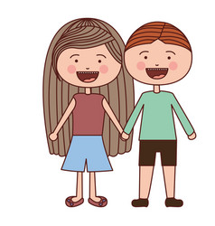 Color silhouette smile expression cartoon couple vector