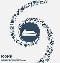 Cruise sea ship icon in the center around the many vector