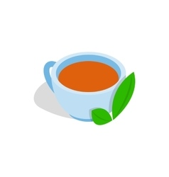 Cup of tea with mint leaf icon isometric 3d style vector image vector image