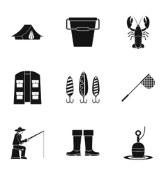 Fishing icons set simple style vector
