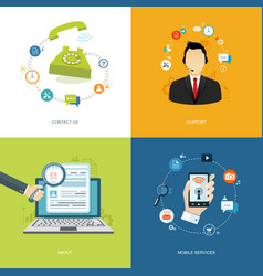 flat internet banners set online support about vector image vector image