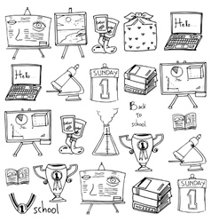 Hand draw school supplies doodles vector