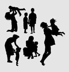happy family playing silhouette vector image vector image