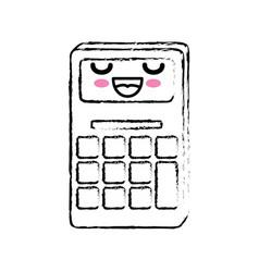 Kawaii calculator icon vector