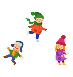 kids playing snowball ice skating in winter vector image vector image