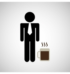 Man silhouette business and mug coffee hot design vector
