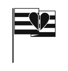 Rainbow flag black simple icon vector
