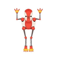 Red and white android robot character with thin vector
