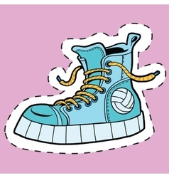 Sticker label sports rubber shoes vector