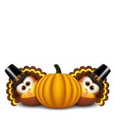 Thanksgiving turkeys with pilgrim hat and pumpkin vector