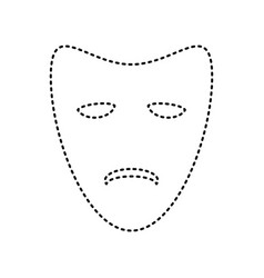 Tragedy theatrical masks black dashed vector