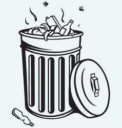 Trash bin full of garbage vector image vector image