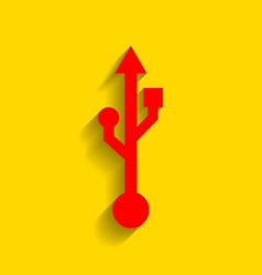 usb sign red icon with soft vector image vector image