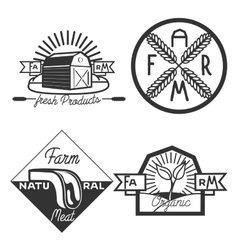 Vintage farm emblems vector