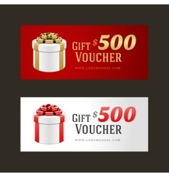 Voucher template with gift box and bow vector image
