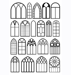 Window frame silhouettes vector
