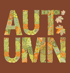 word autumn with falling leaves on a dark vector image