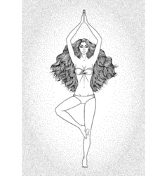 Yoga woman Pose Vrikshasana Girl Meditation vector image