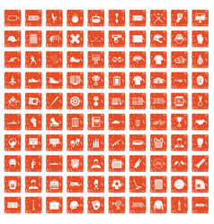 100 mens team icons set grunge orange vector