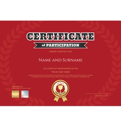 Certificate of participation in red sport theme vector
