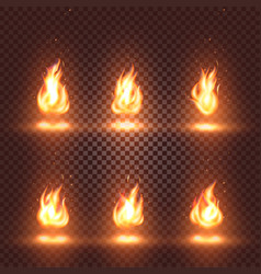 Isolated abstract realistic fire flame images set vector