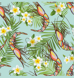 seamless tropical flowers and shrimps background vector image