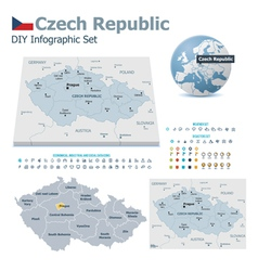 Czech republic maps with markers vector