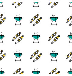 seamless pattern with shish kebab and barbecue vector image