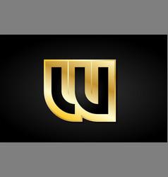 w gold golden letter logo icon design vector image