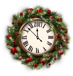 2017 new year round clock vector