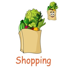 Brown shopping bag with fresh groceries vector