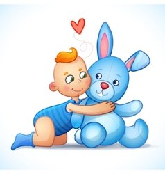 Baby boy redhead hugs bunny toy on a white vector