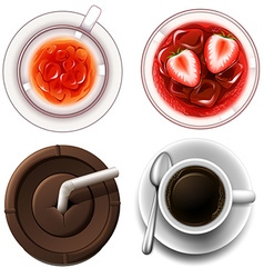 Top view of hot and cold drinks vector