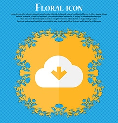 Download from cloud floral flat design on a blue vector