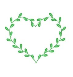 Lovely green vine leaves in a heart shape vector