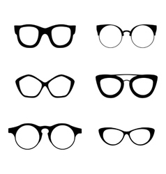 Retro collection of 6 various glasses sunglasses vector