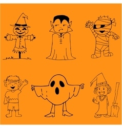 Character halloween doodle art vector