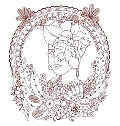 Zen tangle girl with flowers vector