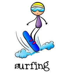 A stickman surfing vector