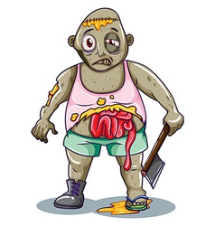 A zombie holding a sharp weapon vector image