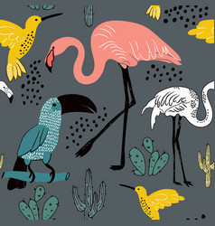 Abstract hand painted seamless animal background vector