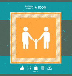 Adults with a child - family icon vector